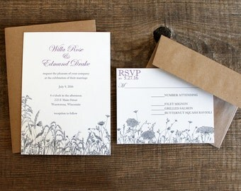 floral wildflower wedding invitation set - 50 invitations and response cards wedding stationery