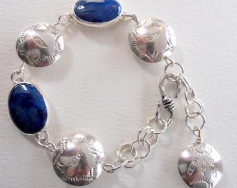 Handmade Bracelet, Southwestern, Sterling Silver Pillow Beads, Hand Stamped Jewelry, Cobalt Blue Arizona Shattuckite Bracelet