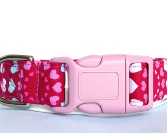 Handmade Cotton Dog Collar - Pink and Blue Hearts
