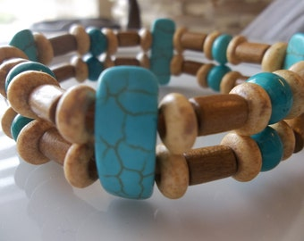 Turquoise Conecters - Rodeo Western-Two Teir Turq and Wood-Beaded Stretch Bracelet  (173)