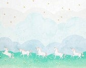 Magic! - Unicorn Parade Mint Double Border with Metallic by Sarah Jane from Michael Miller