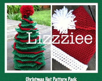 Santa and Christmas Tree Hat Patterns - Instructions to make super cute and easy hats - baby toddler child teen adult - Digital Download