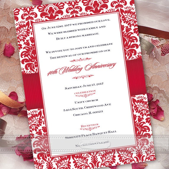 40th wedding anniversary invitations, cherry red wedding invitations, red bridal shower invitations, golden anniversary invitations, IN465