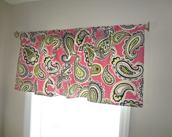 SALE Curtain Valance Topper Window Treatment 52x15 Pink Lime Black Paisley Valance Pink Paisley Curtain