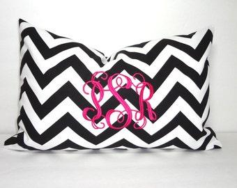 Chevron Zig Zag Monogrammed Pillow Cover Lumbar 12x18 Monogram Pillow Cover Chevron Fabric Up to 3 Initials