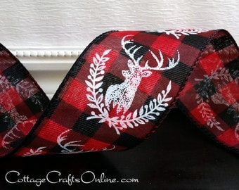 """Christmas Wired Ribbon, 2 1/2"""", White Deer Print, Red and Black Check - FIVE YARDS - """"Deer Laurel"""" #70226 Buffalo Plaid Wire Edged Ribbon"""