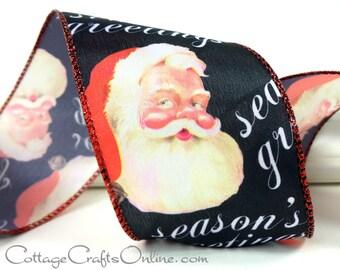 "Christmas Wired Ribbon, 2 1/2"" Santa Claus Black Chalkboard Look Print - THREE YARDS - Offray ""Santa Greetings"" Craft Wired Edge Ribbon"