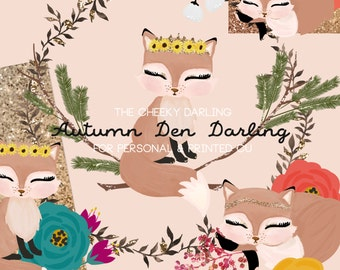Fox Woodland  Autumn den darling Glitter Fall  Floral Clipart Graphic Hand Painted  files Printed CU OK Stickers