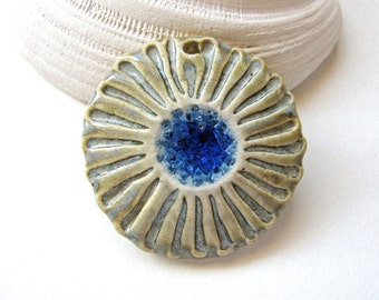 Sky Blue Sea Flower Pendant Stoneware Clay