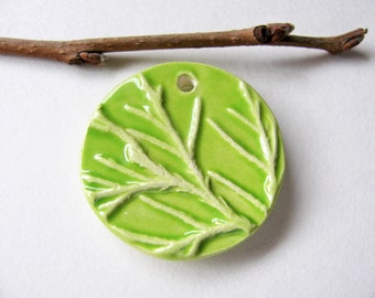 Spring Green Tree Branch Pendant Earthenware Clay