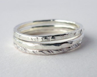 Sterling Silver Ring- Stacking Rings- Stacking Ring Set- Hammered Silver Ring