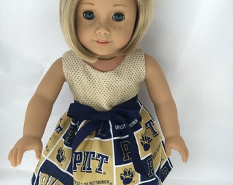 18 inch doll dress made of University of Pittsburgh fabric,  made to fit 18 inch dolls such as American Girl and similar 18 inch dolls