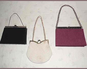 3 Vintage Purses Shoulder or Wrist- Black Patent - White Bead - Burgundy Suede – Lot