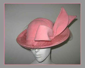 "Unique Pink Wool Felt Brim Hat Accentuated Felt Bow ""Rabbit Ears""  w Veil - Jack McConnell"