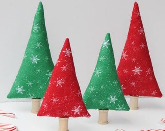 Christmas trees tiny forest red green snowflakes Christmas Holiday decoration stuffed Christmas trees, room decor gift idea