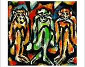 """Jacqueline Ditt - """"Three Monkeys"""" print after a painting"""