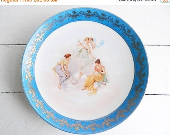 SALE Vintage Romantic Porcelain Hanging Plate with Cerulean Blue Border - Three Graces by Carl Larsen
