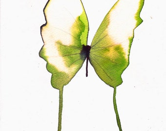 "white gold, yellow and green butterfly  8 X 10"" original watercolour painting"