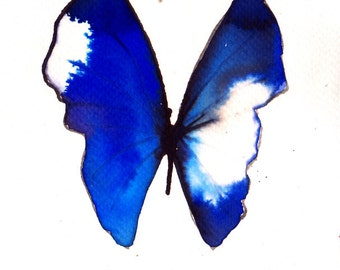 ultramarine and blue violet purple with white spot butterfly original watercolour painting