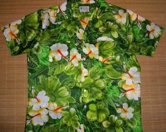 Mens Vintage 70s Waikiki Holiday Hibiscus Hawaiian Shirt - L - The Hana Shirt Co