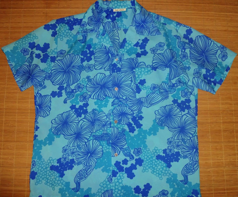 Mens vintage 70s blue hawaii elvis hawaiian aloha shirt for The hawaiian shirt company