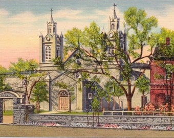 Albuquerque, New Mexico, San Felipe de Neri, Plaza - Linen Postcard - Unused (VVV)