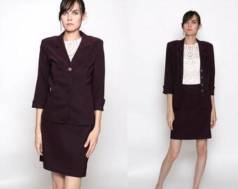 Vintage 90s Plum Purple 2 Piece Business Suit / Skirt Jacket