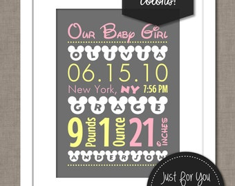 Mickey Mouse Inspired Nursery Art - Typography Subway Wordle - Birth Announcement - Wall Art - Printable 8x10 YOU PRINT (Digital File)