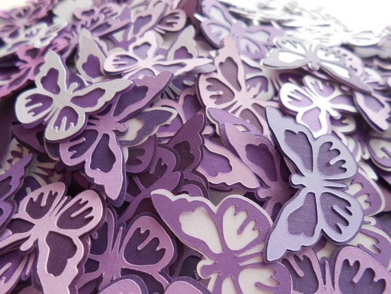 100 Layered Butterflies, Purples. Or CHOOSE YOUR COLORS. Wedding Confetti, Wedding, Shower, Party Decoration.