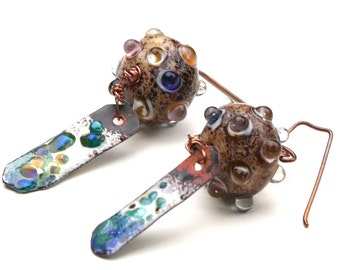 Sand Art Lampwork Bumpy Beads and Artisian Enamel Matchsticks with Handmade Copper