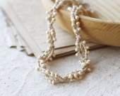 Twisted beaded beige necklace Boho chic Summer fashion Rustic Natural Neutral Bohemian jewelry