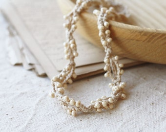 Beaded necklace beige natural jewelry Boho chic Rustic Natural Neutral Bohemian jewelry Twisted necklace Summer gift for her Trends