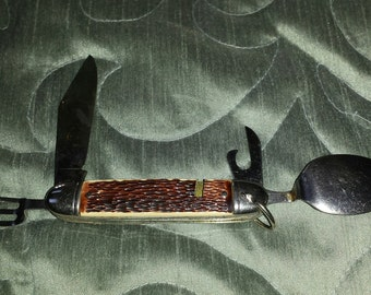 Colonial Prov USA Hobo Campaign Picnic Boy Scout Survival Knife 3 1/2""