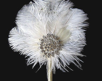 Guest Book Pens F - Ivory and Soft White Ostrich Feather Wedding Guest Book Sign In Pen with Rhinestone-Crystal Spray