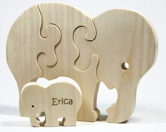 Wooden Animal Puzzle, Elephant Puzzle, Children's Puzzle, Personalized Wooden Puzzle, Children's Toy, Baby Shower Gift, Baptism Gift