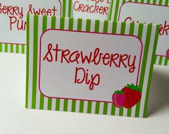 8 Strawberry Personalized and Printed  Food Label Tent Cards - Placecards
