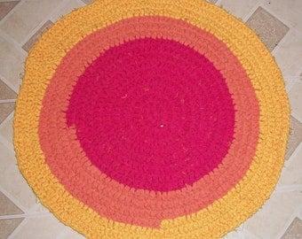 Pink, Orange, and Yellow Crocheted Rag Rug