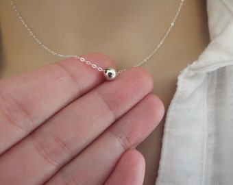 SALE Sterling Silver Single Bead Necklace- Minimalist Silver Jewelry- Gift- Tiny Bead- 925
