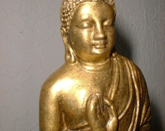 Seated Buddha Statue in Burnished GOLD Finish
