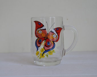 Butterfly Mug, Glass Butterfly Mug - Circa 1970