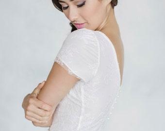 Lace top, Cap sleeve, Button back, V-neckline, Chantilly lace, Bridal separates, Wedding separates, Bridal, Wedding top, Wedding skirt