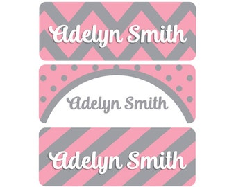 Name Labels, Girl, Baby Bottle Labels, Daycare Labels, Waterproof Name Labels, School Name Labels, Chevron, Stripes, Polka Dots, Pink, Gray