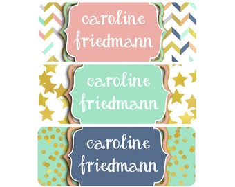 FAST SHIPPING!  Name Labels, Baby Bottle Labels, Daycare Labels, Waterproof Name Labels, School Name Labels, Stars, Gold, Mint, Pink, Navy