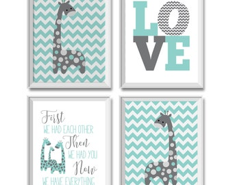 Giraffes Nursery Decor, Girl, Boy, Gender Neutral, Love Art Print, First We Had Each Other Now We Have Everything, Teal, Gray, Grey, Giraffe