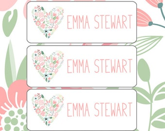 School Labels, Girl, Daycare Name Labels, Bottle Labels, Dishwasher Safe, Waterproof, Iron-On Clothing Labels, Name Tags, Pink Mint Flower