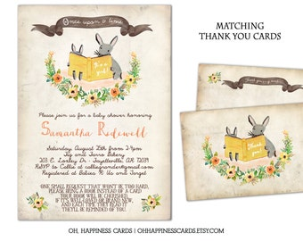 Storybook Shower Invitation-Once Upon a Time, Reading, Library // Digital or Printed (FREE SHIPPING!)