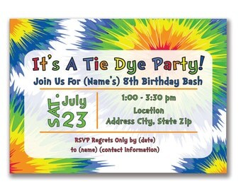 Customizable Tie Dye Party Invitation [Digital File ONLY]
