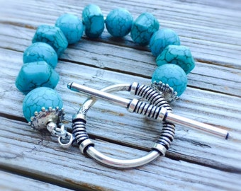 Turquoise Bracelet - Gemstone Jewelry - Sterling Silver Jewellery - Beaded - Chunky - Fashion