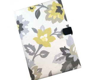 Nook Kindle Samsung Tab 3 Asus Tablet Case Ipad Kindle HDX Gray Yellow Flowers iPad Cover Magnetic Closure