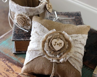 Flower Girl Basket and Ring Bearer Pillow SET BURLAP and LACE Vintage Wedding Rustic Nautical Wedding Personalized